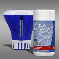Dosierschwimmer mit Thermometer + 1x AP Chlortabletten 200g, 1 kg (C82)
