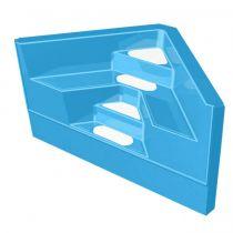 GFK Ecktreppe 2,00 x 2,00 x 1,50m Blau mit weißen Stufen