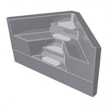 GFK Ecktreppe 2,00 x 2,00 x 1,50m Granit mit silbergrauen Stufen