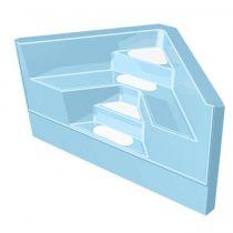 GFK Ecktreppe 2,00 x 2,00 x 1,50m Hellblau mit weißen Stufen