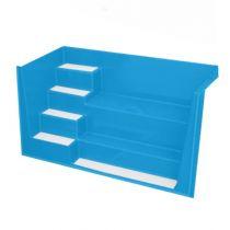 GFK Rechtecktreppe 2,50 x 1,16 x 1,50m Blau mit weißen Stufen